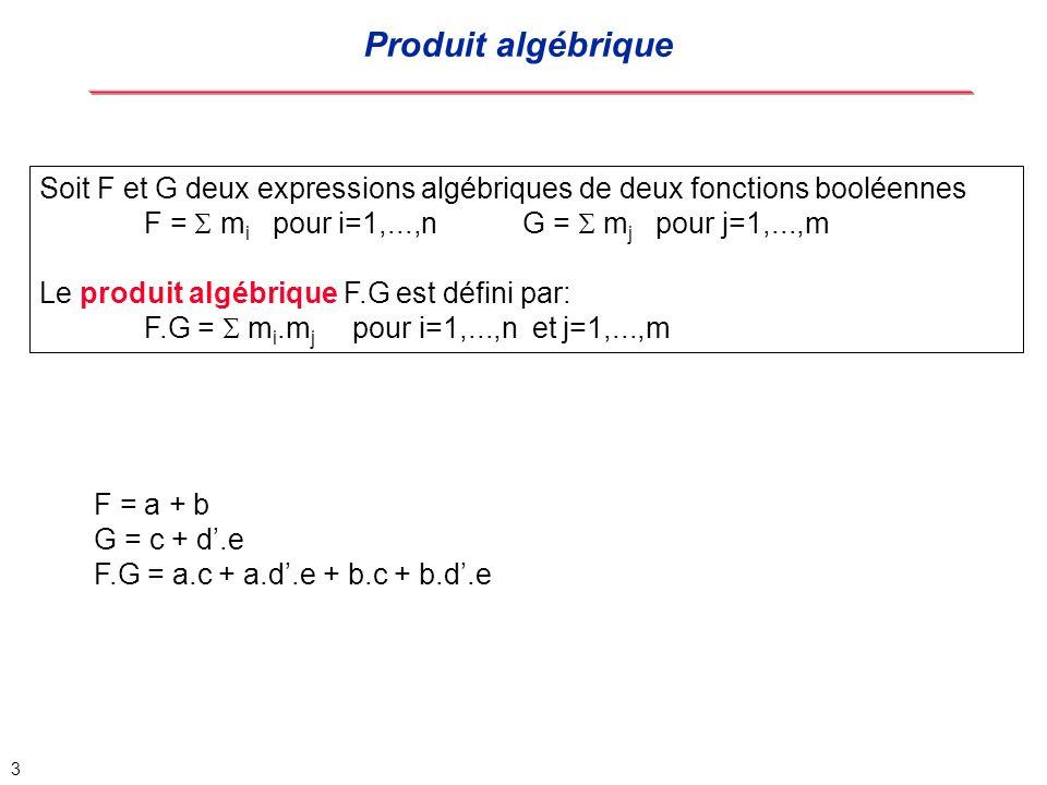 4 Soit F et G deux expressions algébriques de deux fonctions booléennes G est un diviseur algébrique de F si F = G.Q + R où : G.Q est le produit algébrique Q est la plus grande expression possible non nulle, càd quil nexiste pas Q tel que Q < Q et F = G.Q + R R est une expression algébrique F = a.b + a.d + c.b + d.c + e G = a + c G est un diviseur de F.