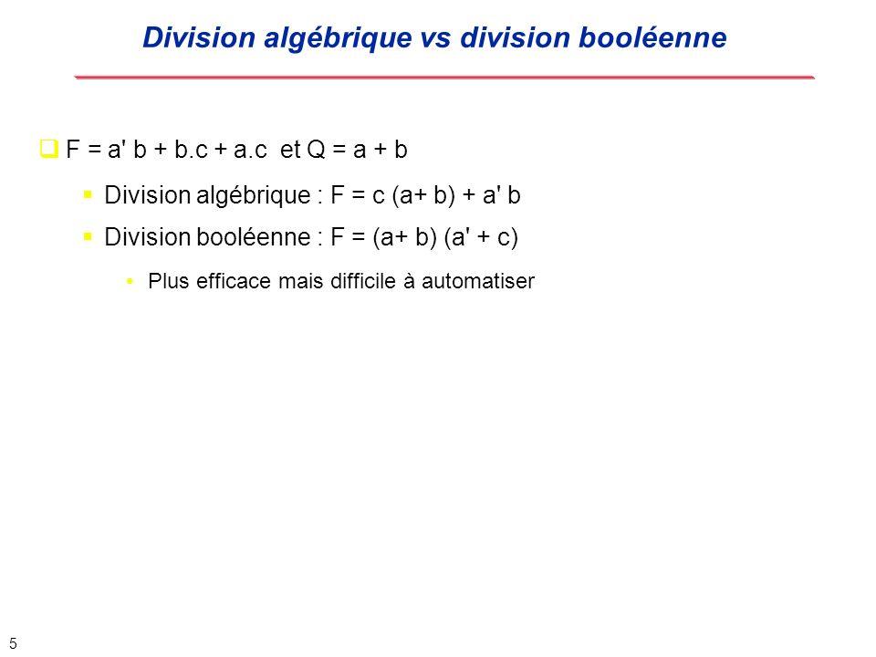 6 Une expression algébrique F est une expression libre sil nexiste pas de monôme m (avec m différent de 1) qui soit un facteur algébrique de F.