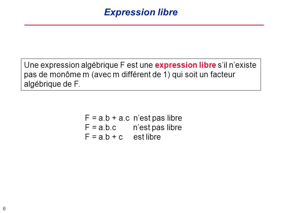 7 K est un noyau dune expression algébrique F si K = F/m (quotient) où m est un monôme et K une expression libre m est appelé le co-noyau de K F = a.b.c.d + a.b.d + a.c.d + a.b.c.d K = (b.c.d + b.d + c.d) est un noyau de F, a est son co-noyau K nest pas de degré 0 (degré 1) K admet un noyau K1 = (b + c), d étant son co-noyau Un noyau est de degré 0 sil nadmet pas dautre noyau que lui même.