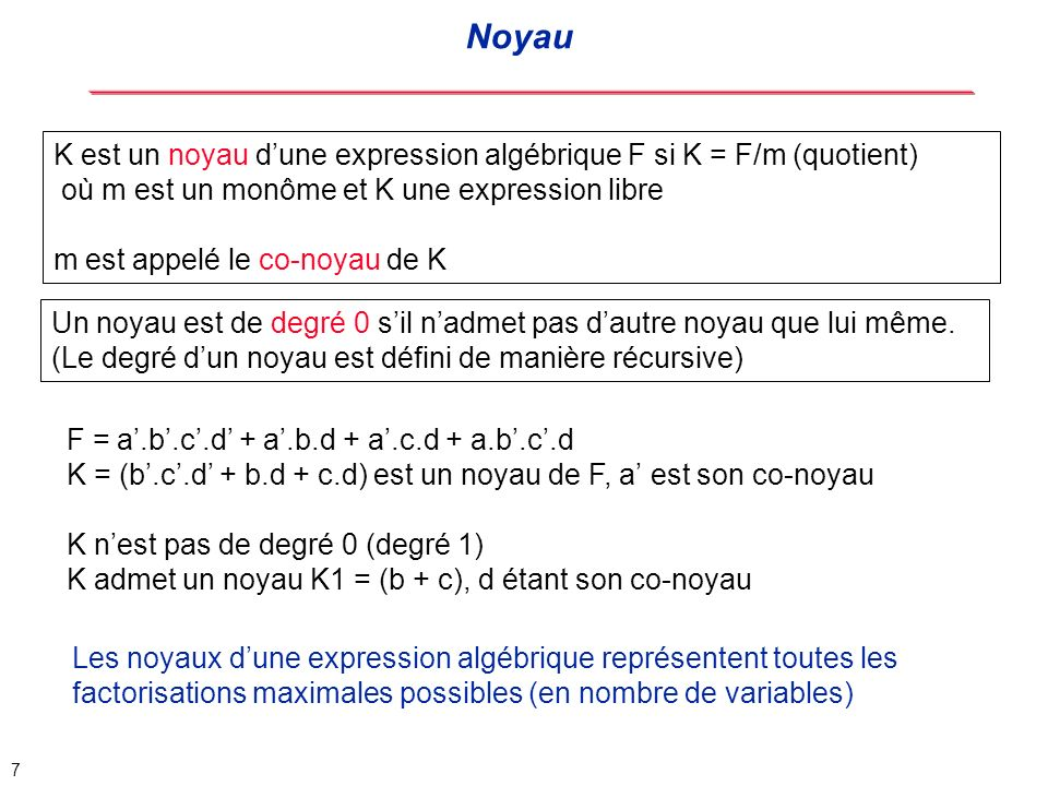 8 G: Gain en nombre de littéraux associé à un noyau G = (Nombre de littéraux du co-noyau) * (Nombre de monômes du noyau -1) F = a.b.c.d + a.b.d + a.c.d + a.b.c.d => 14 littéraux K = (b.c.d + b.d + c.d) est un noyau de gain G = 2 (1*(3-1)) F = a.(b.c.d + b.d + c.d) + a.b.c.d => 12 littéraux Gain associé à un noyau