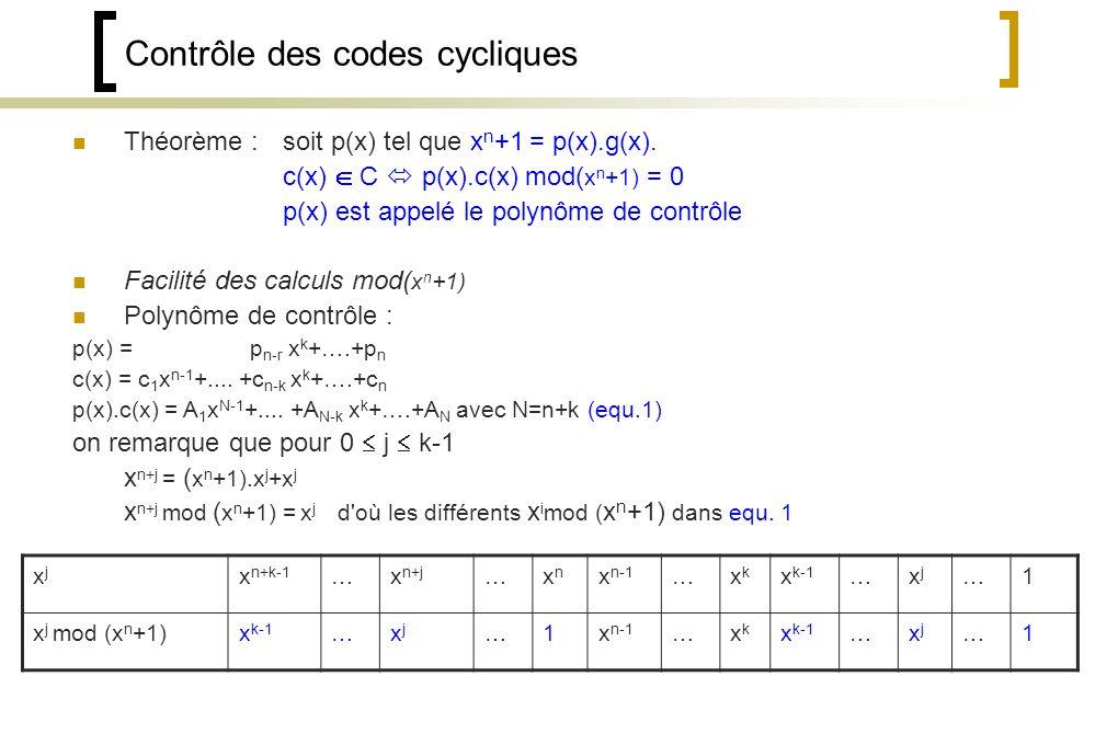 Contrôle des codes cycliques Théorème : soit p(x) tel que x n +1 = p(x).g(x).