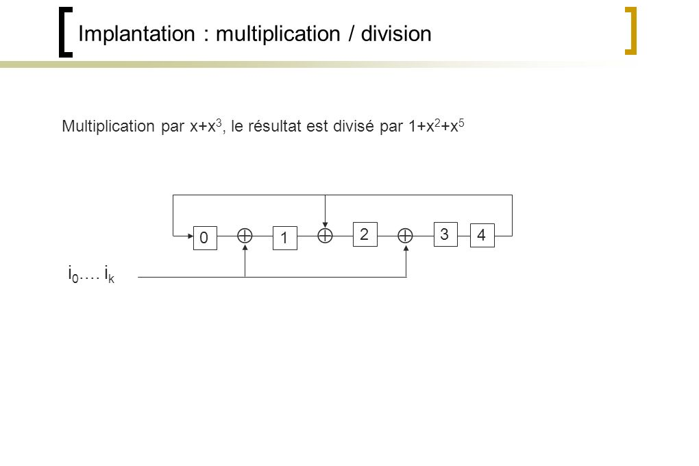 Implantation : multiplication / division 1 2 4 i 0....