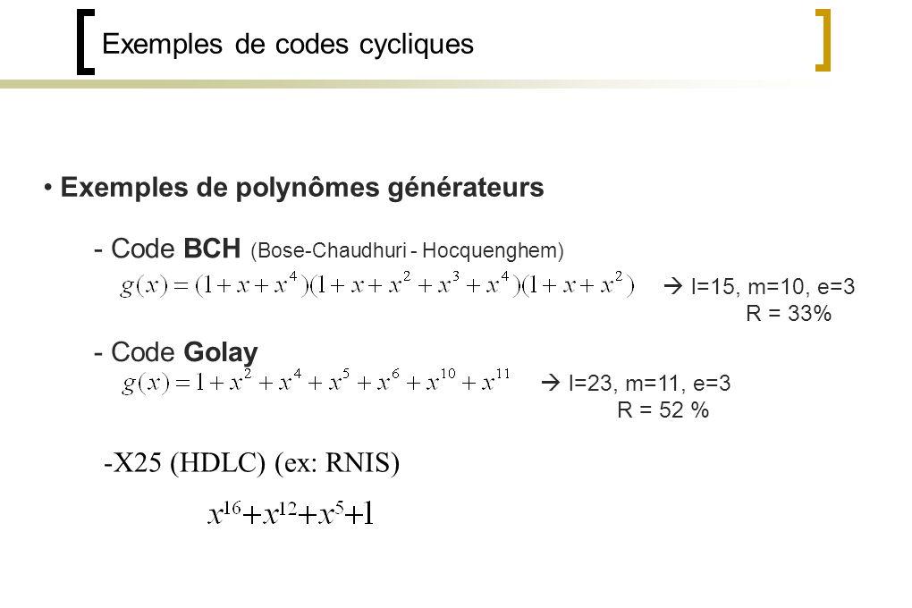 Exemples de codes cycliques Exemples de polynômes générateurs - Code BCH (Bose-Chaudhuri - Hocquenghem) l=15, m=10, e=3 R = 33% - Code Golay l=23, m=11, e=3 R = 52 % -X25 (HDLC) (ex: RNIS)