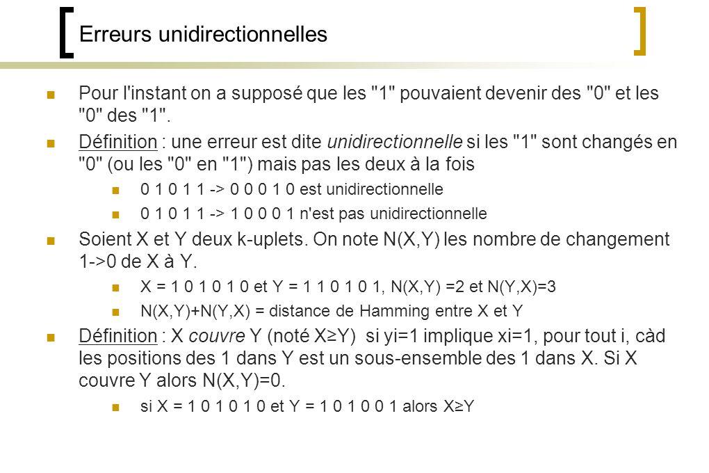 Erreurs unidirectionnelles Pour l instant on a supposé que les 1 pouvaient devenir des 0 et les 0 des 1 .
