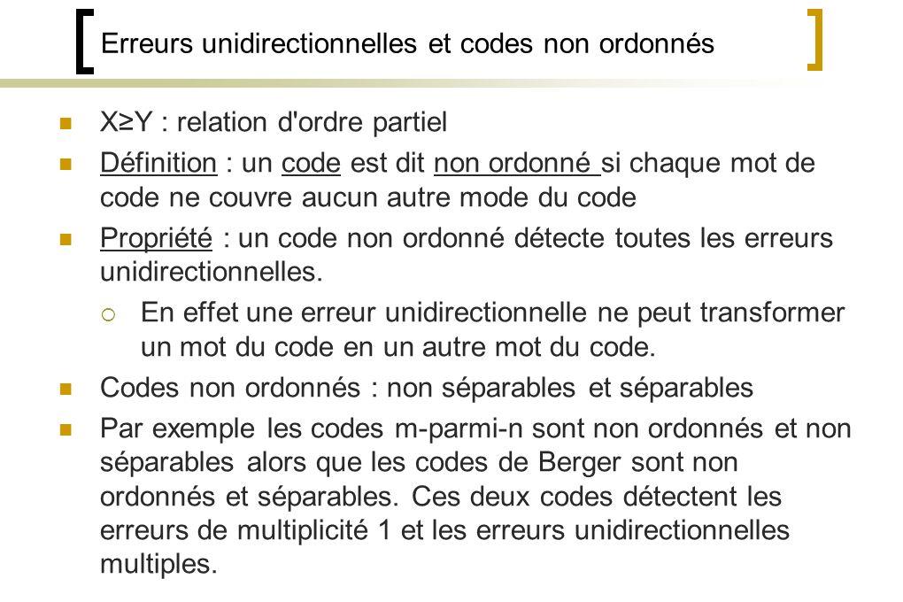 Erreurs unidirectionnelles et codes non ordonnés XY : relation d ordre partiel Définition : un code est dit non ordonné si chaque mot de code ne couvre aucun autre mode du code Propriété : un code non ordonné détecte toutes les erreurs unidirectionnelles.
