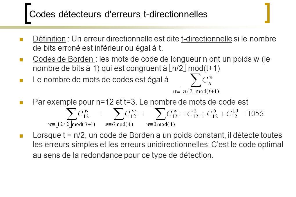 Codes détecteurs d erreurs t-directionnelles Définition : Un erreur directionnelle est dite t-directionnelle si le nombre de bits erroné est inférieur ou égal à t.