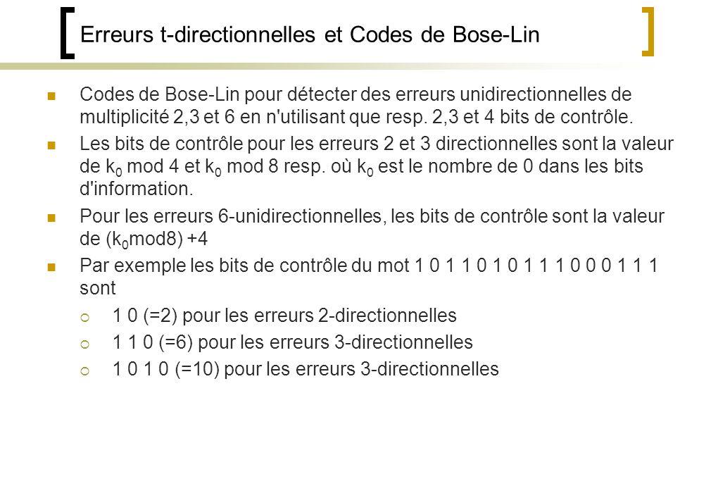 Erreurs t-directionnelles et Codes de Bose-Lin Codes de Bose-Lin pour détecter des erreurs unidirectionnelles de multiplicité 2,3 et 6 en n utilisant que resp.