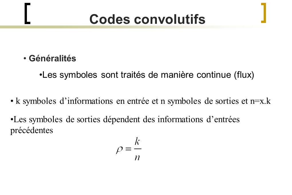 Généralités Codes convolutifs Les symboles sont traités de manière continue (flux) k symboles dinformations en entrée et n symboles de sorties et n=x.k Les symboles de sorties dépendent des informations dentrées précédentes