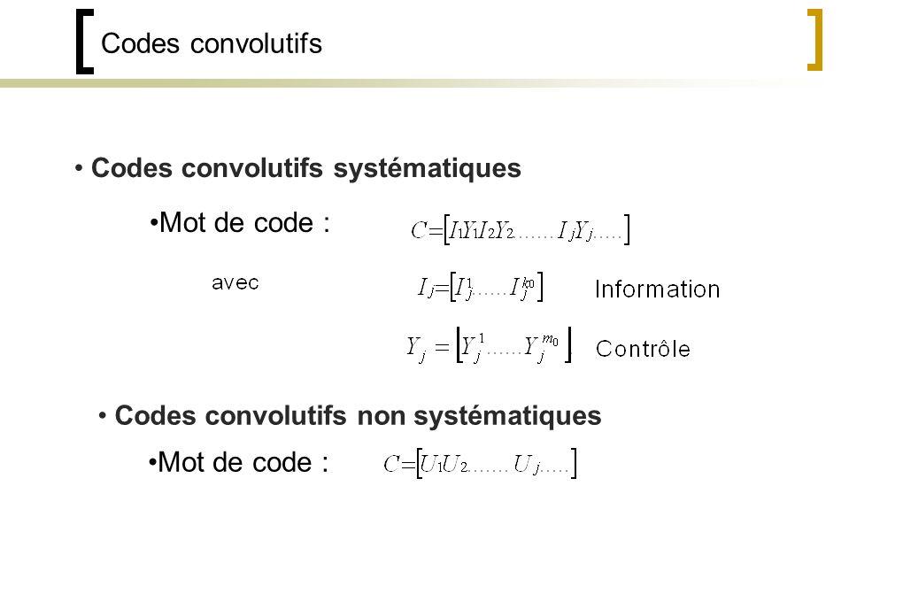 Codes convolutifs Codes convolutifs systématiques Codes convolutifs non systématiques Mot de code :