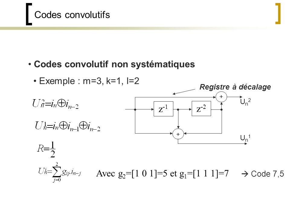 Codes convolutifs Codes convolutif non systématiques Exemple : m=3, k=1, l=2 Registre à décalage Un2Un2 Un1Un1 Avec g 2 =[1 0 1]=5 et g 1 =[1 1 1]=7 Code 7,5 z -1 z -2