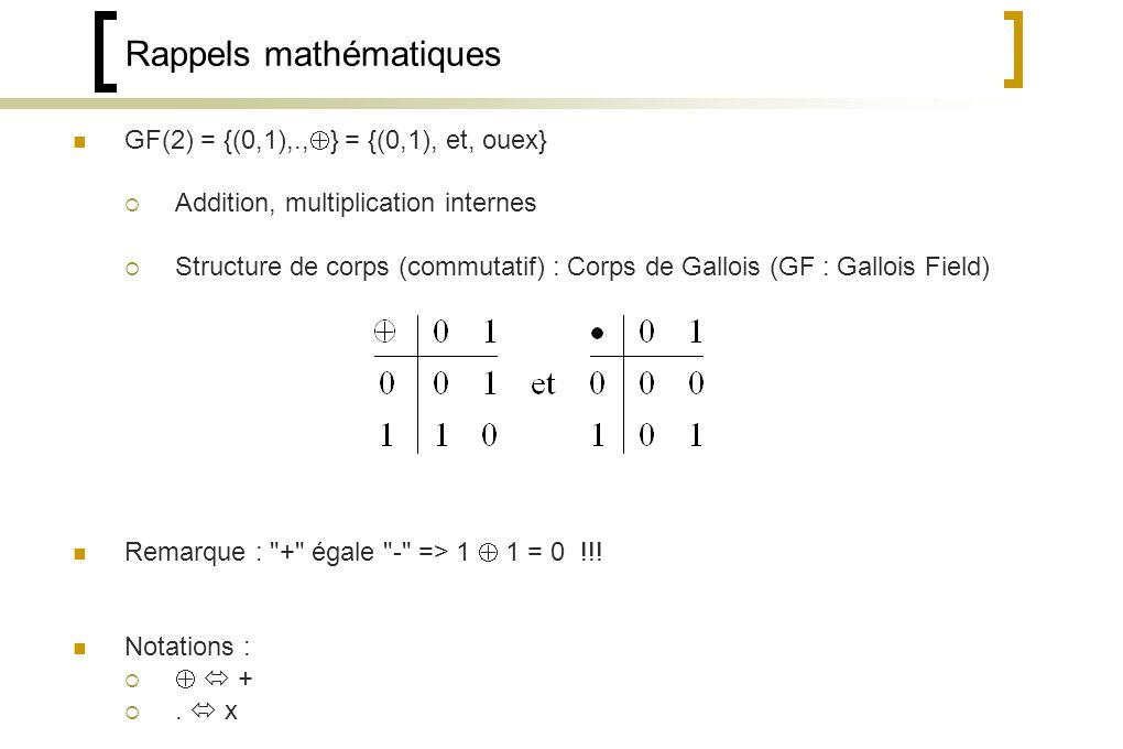 Rappels mathématiques GF(2) = {(0,1),., } = {(0,1), et, ouex} Addition, multiplication internes Structure de corps (commutatif) : Corps de Gallois (GF : Gallois Field) Remarque : + égale - => 1 1 = 0 !!.