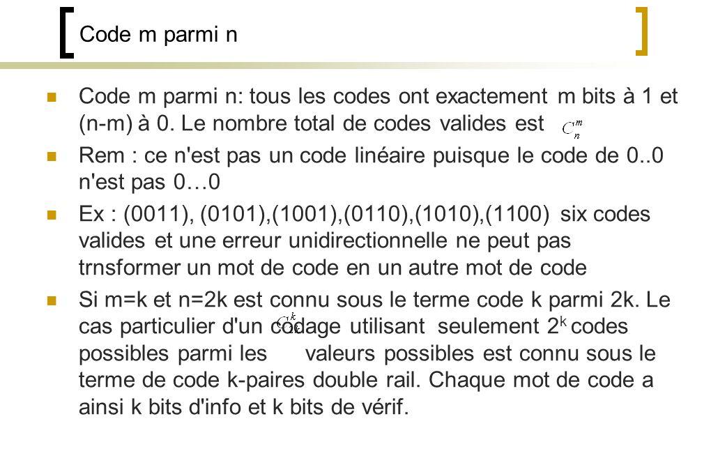 Code m parmi n Code m parmi n: tous les codes ont exactement m bits à 1 et (n-m) à 0.