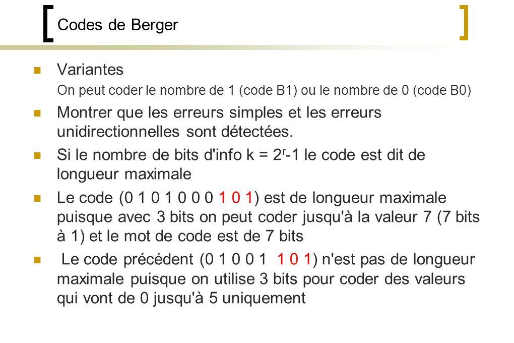 Codes de Berger Variantes On peut coder le nombre de 1 (code B1) ou le nombre de 0 (code B0) Montrer que les erreurs simples et les erreurs unidirectionnelles sont détectées.