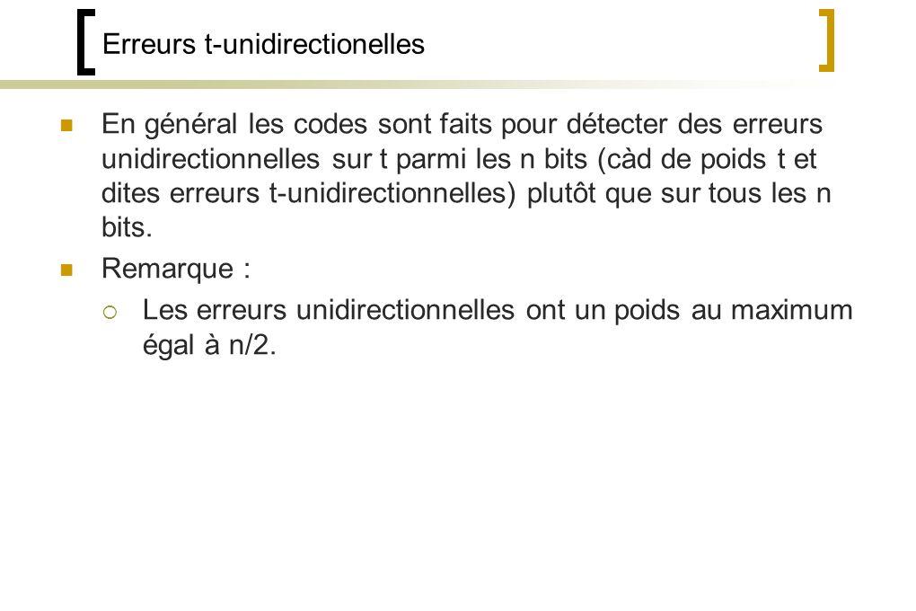 Erreurs t-unidirectionelles En général les codes sont faits pour détecter des erreurs unidirectionnelles sur t parmi les n bits (càd de poids t et dites erreurs t-unidirectionnelles) plutôt que sur tous les n bits.