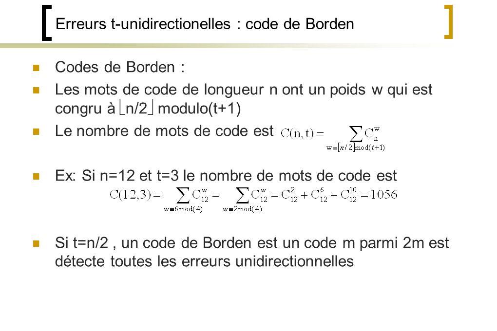 Erreurs t-unidirectionelles : code de Borden Codes de Borden : Les mots de code de longueur n ont un poids w qui est congru à n/2 modulo(t+1) Le nombre de mots de code est Ex: Si n=12 et t=3 le nombre de mots de code est Si t=n/2, un code de Borden est un code m parmi 2m est détecte toutes les erreurs unidirectionnelles