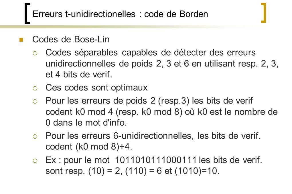 Erreurs t-unidirectionelles : code de Borden Codes de Bose-Lin Codes séparables capables de détecter des erreurs unidirectionnelles de poids 2, 3 et 6 en utilisant resp.