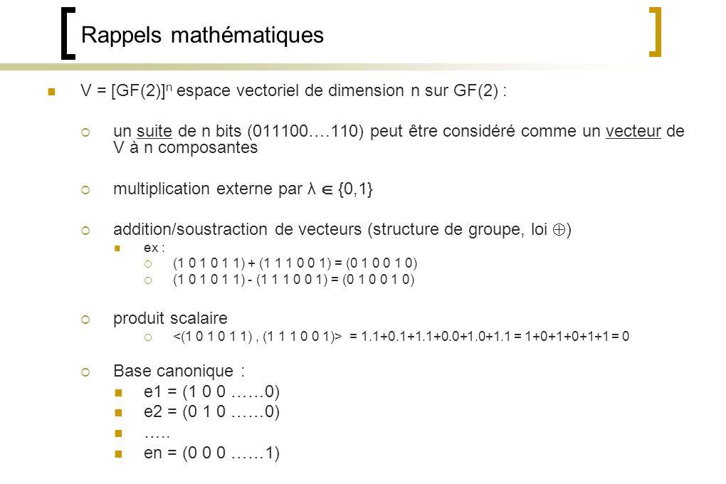 Rappels mathématiques V = [GF(2)] n espace vectoriel de dimension n sur GF(2) : un suite de n bits (011100….110) peut être considéré comme un vecteur de V à n composantes multiplication externe par λ {0,1} addition/soustraction de vecteurs (structure de groupe, loi ) ex : (1 0 1 0 1 1) + (1 1 1 0 0 1) = (0 1 0 0 1 0) (1 0 1 0 1 1) - (1 1 1 0 0 1) = (0 1 0 0 1 0) produit scalaire = 1.1+0.1+1.1+0.0+1.0+1.1 = 1+0+1+0+1+1 = 0 Base canonique : e1 = (1 0 0 ……0) e2 = (0 1 0 ……0) …..