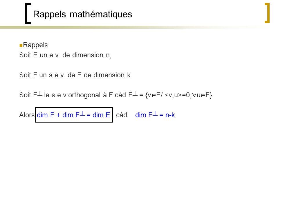 Rappels mathématiques Rappels Soit E un e.v.de dimension n, Soit F un s.e.v.