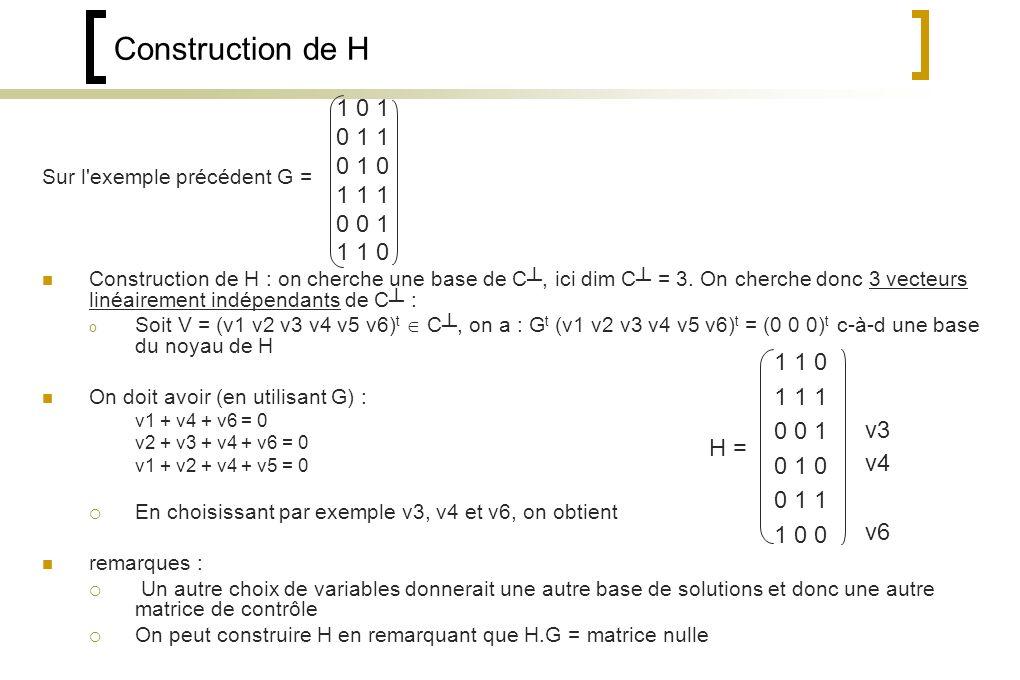 Sur l exemple précédent G = Construction de H : on cherche une base de C, ici dim C = 3.
