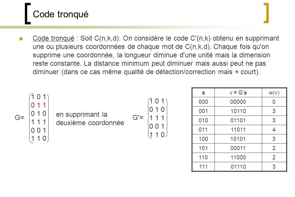 Code tronqué Code tronqué : Soit C(n,k,d).