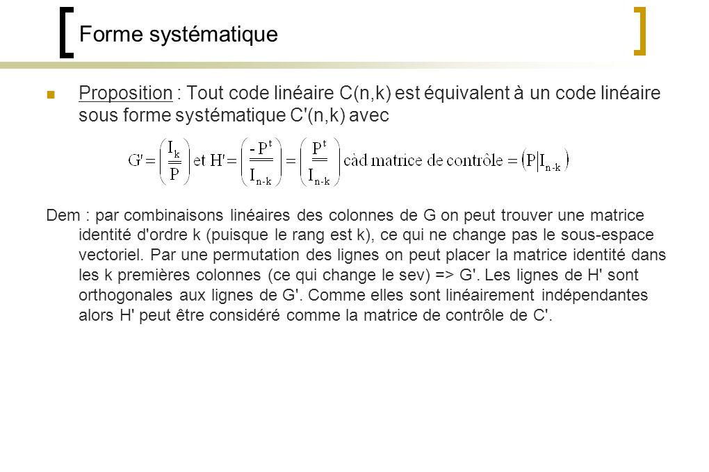 Forme systématique Proposition : Tout code linéaire C(n,k) est équivalent à un code linéaire sous forme systématique C (n,k) avec Dem : par combinaisons linéaires des colonnes de G on peut trouver une matrice identité d ordre k (puisque le rang est k), ce qui ne change pas le sous-espace vectoriel.