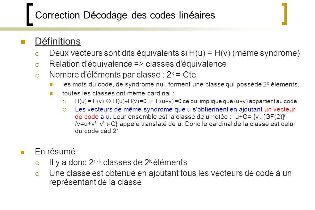 Correction Décodage des codes linéaires Définitions Deux vecteurs sont dits équivalents si H(u) = H(v) (même syndrome) Relation d équivalence => classes d équivalence Nombre d éléments par classe : 2 k = Cte les mots du code, de syndrome nul, forment une classe qui possède 2 k éléments.