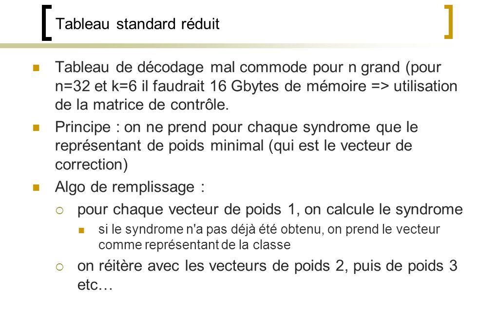 Tableau standard réduit Tableau de décodage mal commode pour n grand (pour n=32 et k=6 il faudrait 16 Gbytes de mémoire => utilisation de la matrice de contrôle.