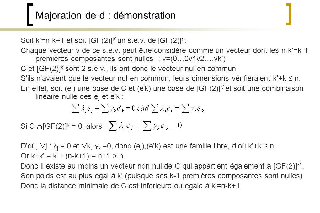 Majoration de d : démonstration Soit k =n-k+1 et soit [GF(2)] k un s.e.v.