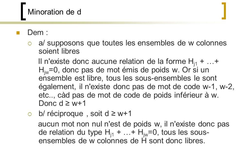 Minoration de d Dem : a/ supposons que toutes les ensembles de w colonnes soient libres Il n existe donc aucune relation de la forme H j1 + …+ H jw =0, donc pas de mot émis de poids w.
