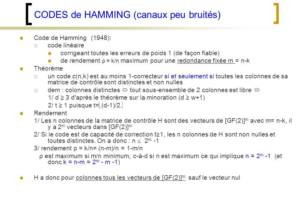 CODES de HAMMING (canaux peu bruités) Code de Hamming (1948): code linéaire corrigeant toutes les erreurs de poids 1 (de façon fiable) de rendement ρ = k/n maximum pour une redondance fixée m = n-k Théorème un code c(n,k) est au moins 1-correcteur si et seulement si toutes les colonnes de sa matrice de contrôle sont distinctes et non nulles dem : colonnes distinctes tout sous-ensemble de 2 colonnes est libre 1/ d 3 d après le théorème sur la minoration (d w+1) 2/ t 1 puisque t= (d-1)/2 Rendement 1/ Les n colonnes de la matrice de contrôle H sont des vecteurs de [GF(2)] m avec m= n-k, il y a 2 m vecteurs dans [GF(2)] m 2/ Si le code est de capacité de correction t1, les n colonnes de H sont non nulles et toutes distinctes.