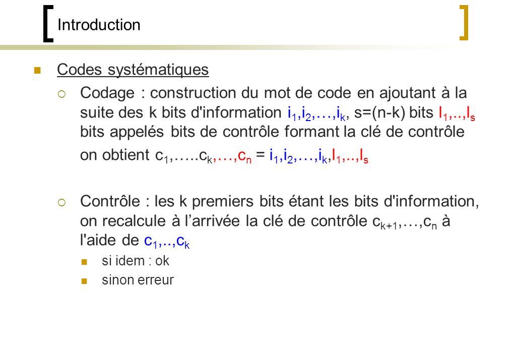 Codes systématiques Codage : construction du mot de code en ajoutant à la suite des k bits d information i 1,i 2,…,i k, s=(n-k) bits l 1,..,l s bits appelés bits de contrôle formant la clé de contrôle on obtient c 1,…..c k,…,c n = i 1,i 2,…,i k,l 1,..,l s Contrôle : les k premiers bits étant les bits d information, on recalcule à larrivée la clé de contrôle c k+1,…,c n à l aide de c 1,..,c k si idem : ok sinon erreur