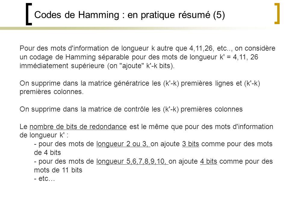 Codes de Hamming : en pratique résumé (5) Pour des mots d information de longueur k autre que 4,11,26, etc.., on considère un codage de Hamming séparable pour des mots de longueur k = 4,11, 26 immédiatement supérieure (on ajoute k -k bits).