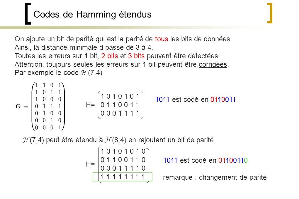 Codes de Hamming étendus On ajoute un bit de parité qui est la parité de tous les bits de données.