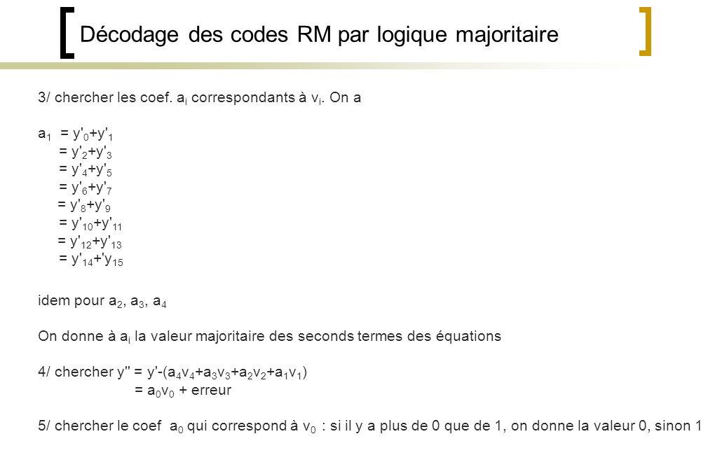 Décodage des codes RM par logique majoritaire 3/ chercher les coef.