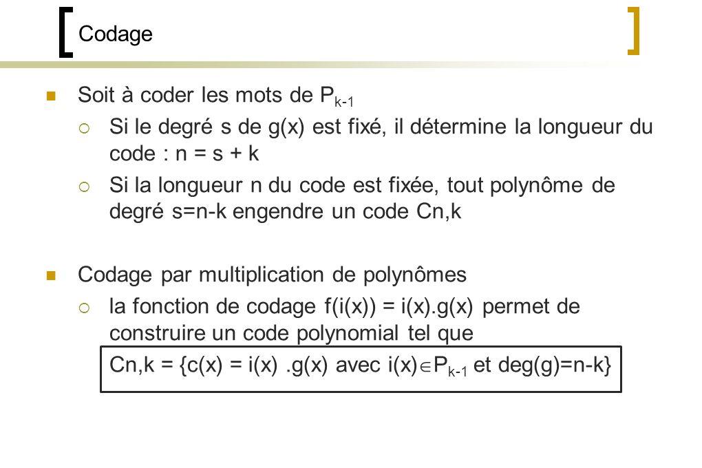 Codage Soit à coder les mots de P k-1 Si le degré s de g(x) est fixé, il détermine la longueur du code : n = s + k Si la longueur n du code est fixée, tout polynôme de degré s=n-k engendre un code Cn,k Codage par multiplication de polynômes la fonction de codage f(i(x)) = i(x).g(x) permet de construire un code polynomial tel que Cn,k = {c(x) = i(x).g(x) avec i(x) P k-1 et deg(g)=n-k}