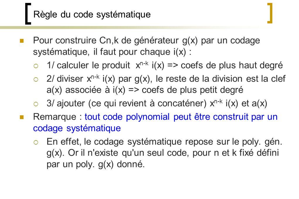 Règle du code systématique Pour construire Cn,k de générateur g(x) par un codage systématique, il faut pour chaque i(x) : 1/ calculer le produit x n-k i(x) => coefs de plus haut degré 2/ diviser x n-k i(x) par g(x), le reste de la division est la clef a(x) associée à i(x) => coefs de plus petit degré 3/ ajouter (ce qui revient à concaténer) x n-k i(x) et a(x) Remarque : tout code polynomial peut être construit par un codage systématique En effet, le codage systématique repose sur le poly.