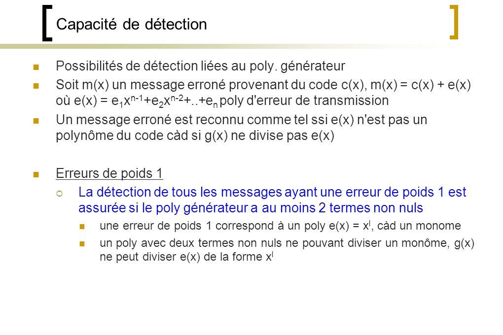 Capacité de détection Possibilités de détection liées au poly.