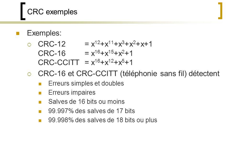 CRC exemples Exemples: CRC-12= x 12 +x 11 +x 3 +x 2 +x+1 CRC-16= x 16 +x 15 +x 2 +1 CRC-CCITT= x 16 +x 12 +x 5 +1 CRC-16 et CRC-CCITT (téléphonie sans fil) détectent Erreurs simples et doubles Erreurs impaires Salves de 16 bits ou moins 99.997% des salves de 17 bits 99.998% des salves de 18 bits ou plus