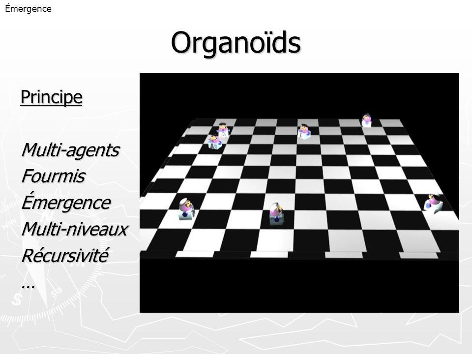 Organoïds PrincipeMulti-agentsFourmisÉmergenceMulti-niveauxRécursivité… Émergence