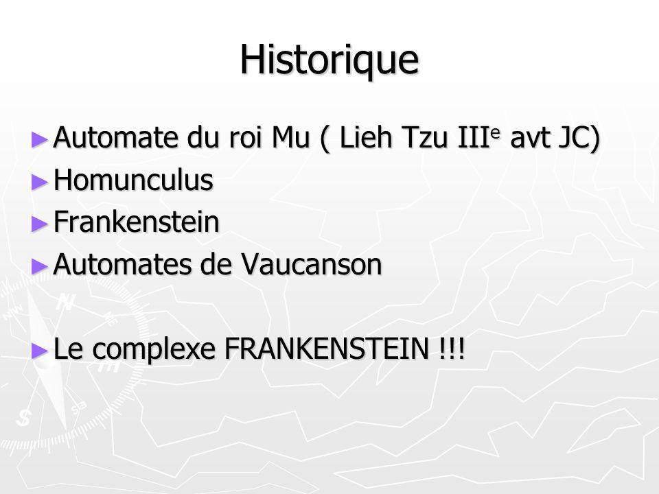Historique Automate du roi Mu ( Lieh Tzu III e avt JC) Automate du roi Mu ( Lieh Tzu III e avt JC) Homunculus Homunculus Frankenstein Frankenstein Aut