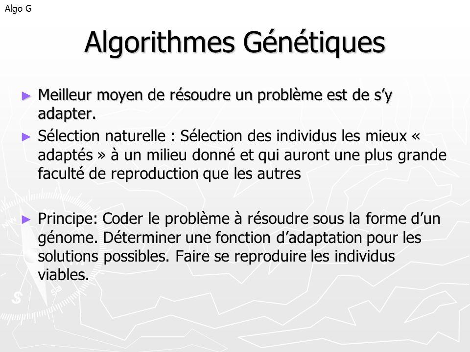 Algorithmes Génétiques Meilleur moyen de résoudre un problème est de sy adapter. Meilleur moyen de résoudre un problème est de sy adapter. Sélection n