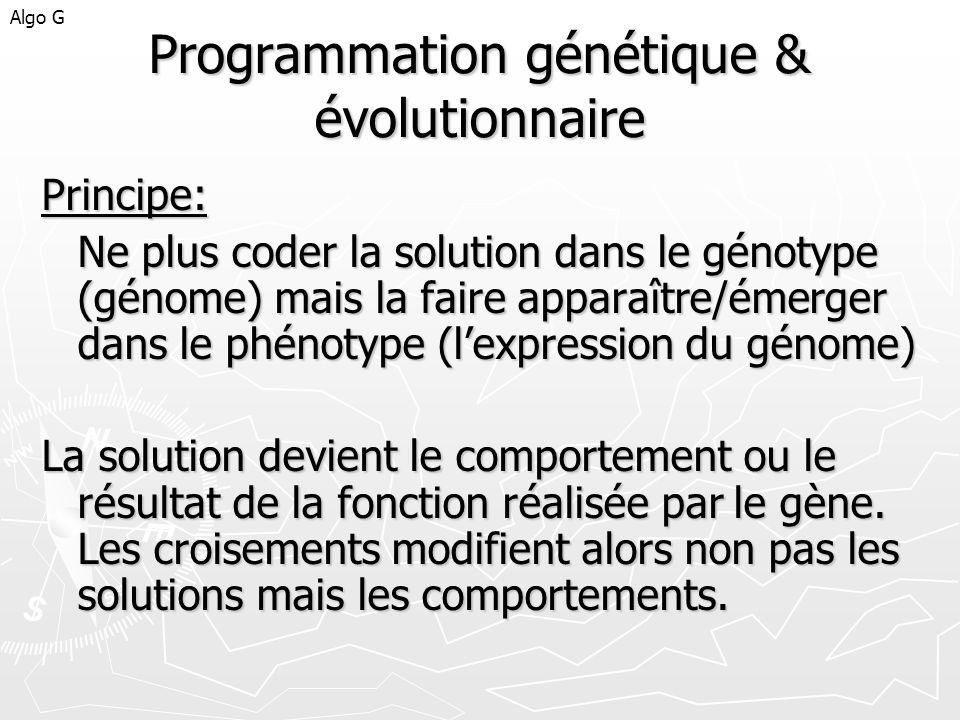 Programmation génétique & évolutionnaire Principe: Ne plus coder la solution dans le génotype (génome) mais la faire apparaître/émerger dans le phénot