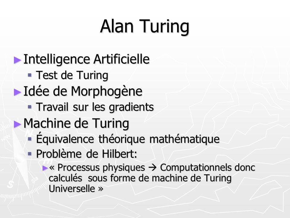 Alan Turing Intelligence Artificielle Intelligence Artificielle Test de Turing Test de Turing Idée de Morphogène Idée de Morphogène Travail sur les gr