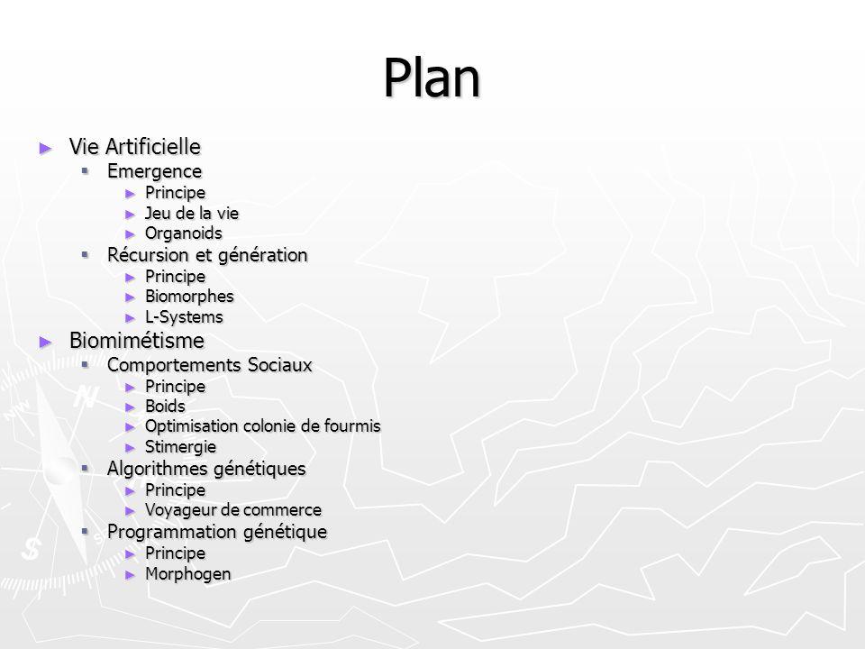 Plan Vie Artificielle Vie Artificielle Emergence Emergence Principe Principe Jeu de la vie Jeu de la vie Organoids Organoids Récursion et génération R