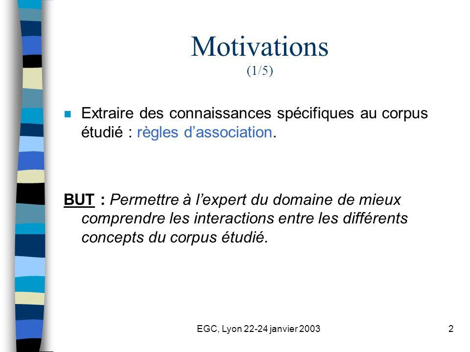 2 Motivations (1/5) n Extraire des connaissances spécifiques au corpus étudié : règles dassociation. BUT : Permettre à lexpert du domaine de mieux com