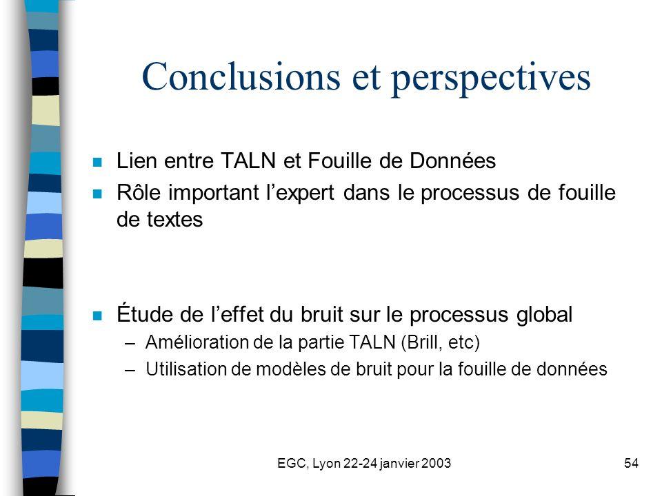EGC, Lyon 22-24 janvier 200354 Conclusions et perspectives n Lien entre TALN et Fouille de Données n Rôle important lexpert dans le processus de fouil