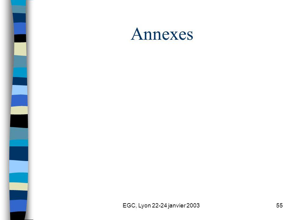 EGC, Lyon 22-24 janvier 200355 Annexes