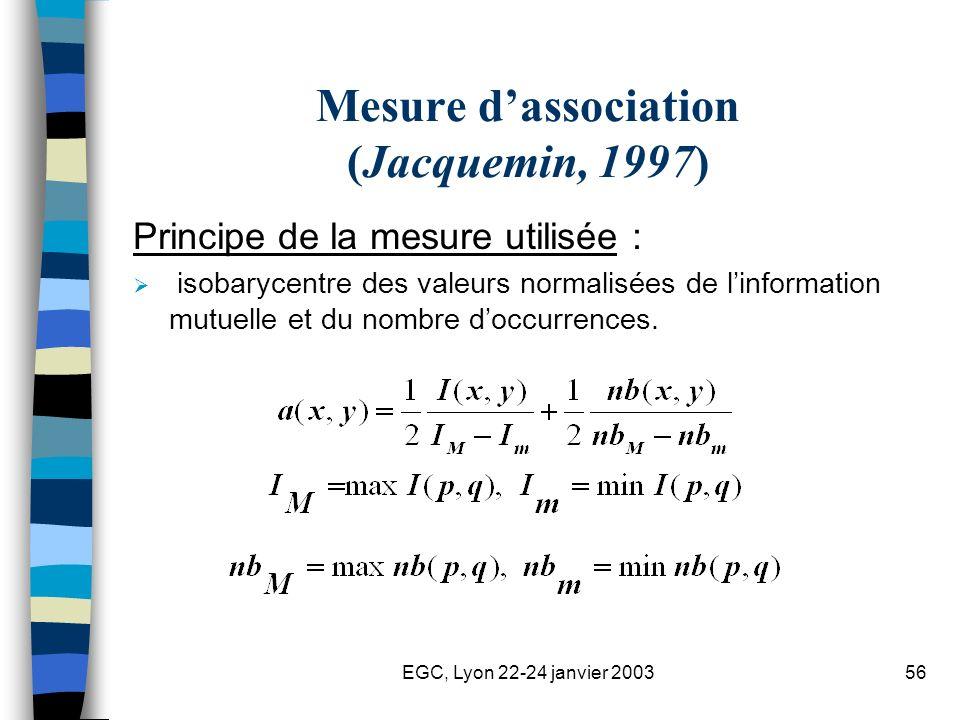 EGC, Lyon 22-24 janvier 200356 Mesure dassociation (Jacquemin, 1997) Principe de la mesure utilisée : isobarycentre des valeurs normalisées de linform