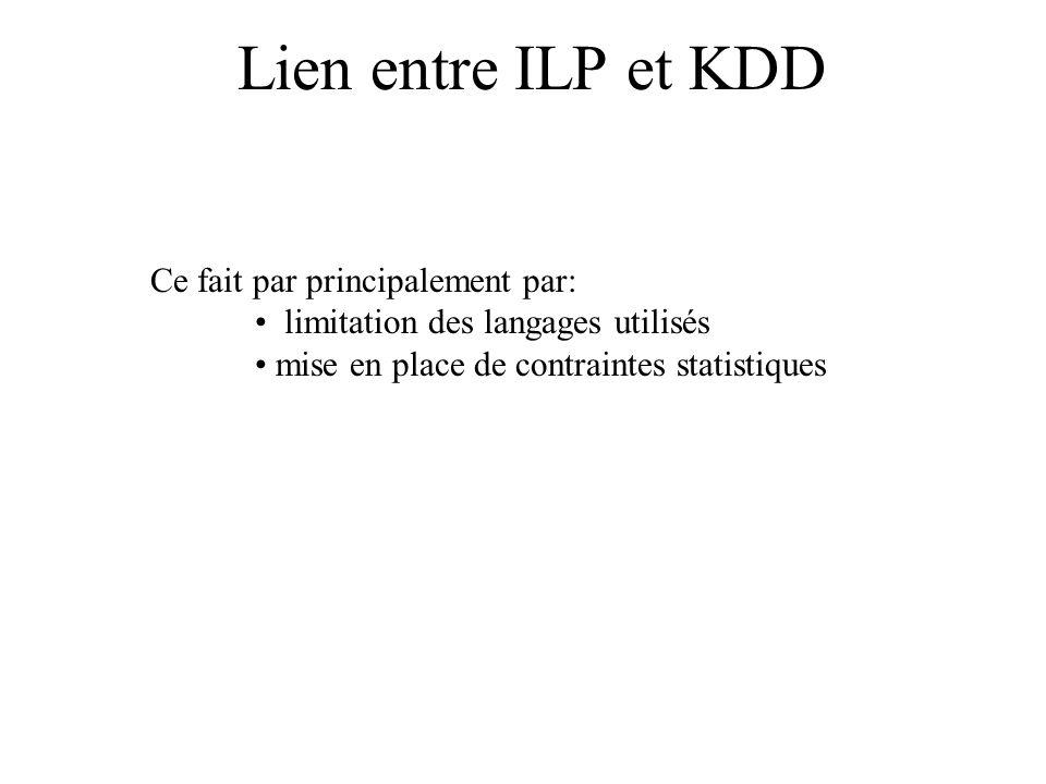 Lien entre ILP et KDD Ce fait par principalement par: limitation des langages utilisés mise en place de contraintes statistiques