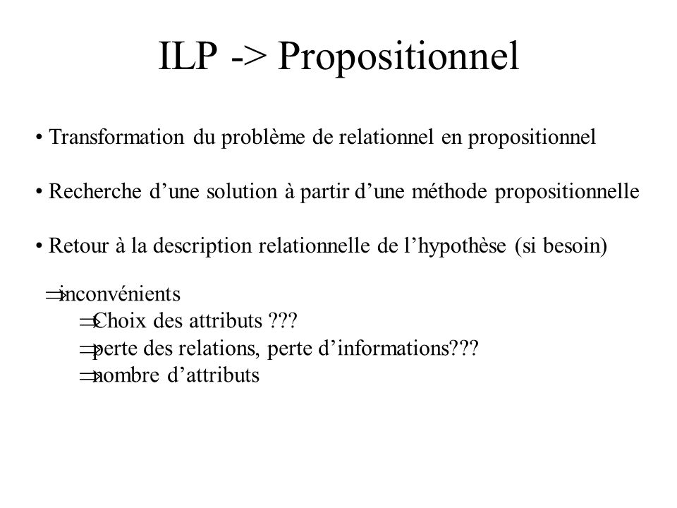 ILP -> Propositionnel Transformation du problème de relationnel en propositionnel Recherche dune solution à partir dune méthode propositionnelle Retour à la description relationnelle de lhypothèse (si besoin) inconvénients Choix des attributs ??.